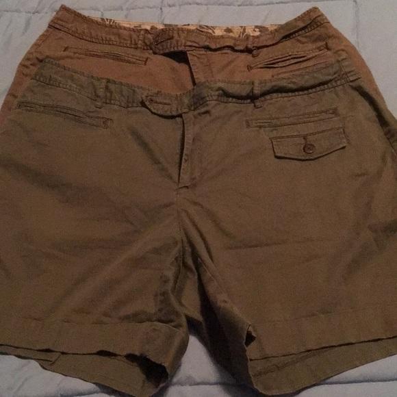 ana Pants - 2 pairs women s shorts 6 inch inseam khaki   olive 5db3d54e70